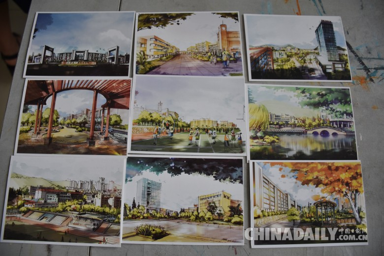 惊艳!高校老师手绘学校风景明信片送毕业学生