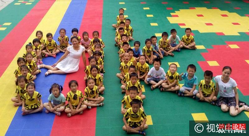 来宾市忻城县大塘镇星星语幼儿园组织即将毕业的孩子们拍摄创意毕业照图片
