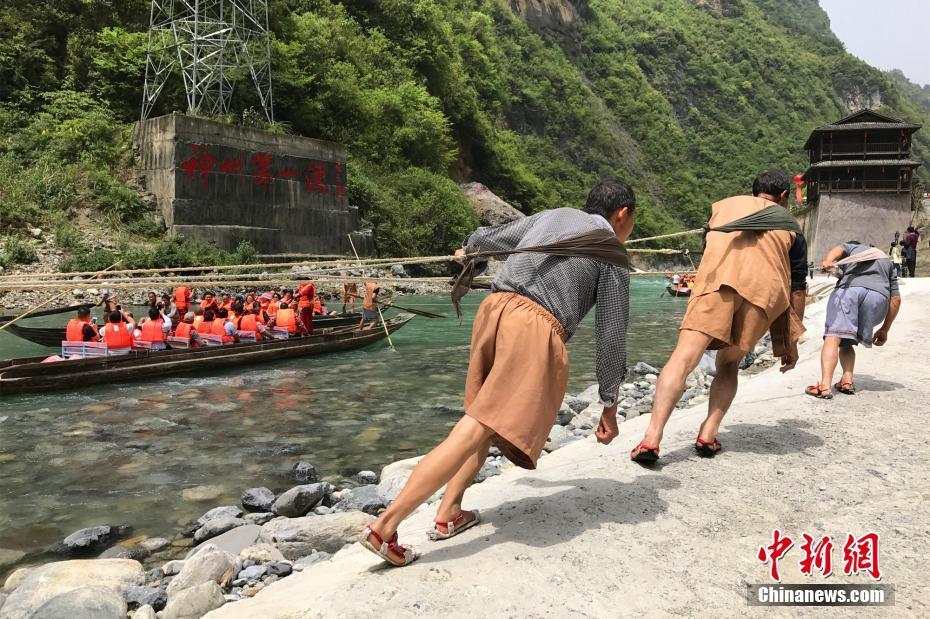 长江三峡纤夫文化节开幕 游客体验原始拉纤